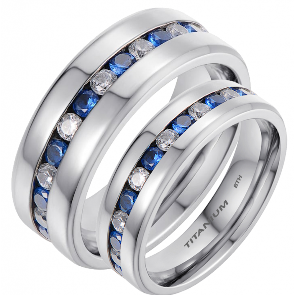 His and Hers Matching Titanium Blue Sapphire Wedding Couple Rings Set