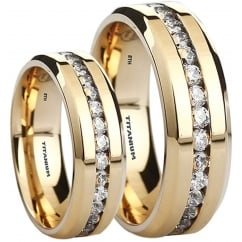 His and Hers Matching Titanium Gold Tone Luxury Wedding Couple Rings Set