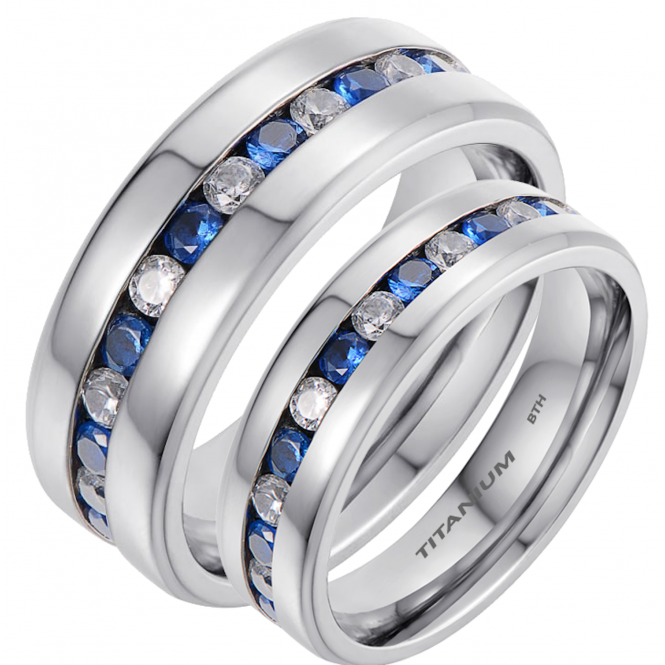 His and Hers Matching Titanium Sapphire CZ Wedding Engagement Couple Rings Set