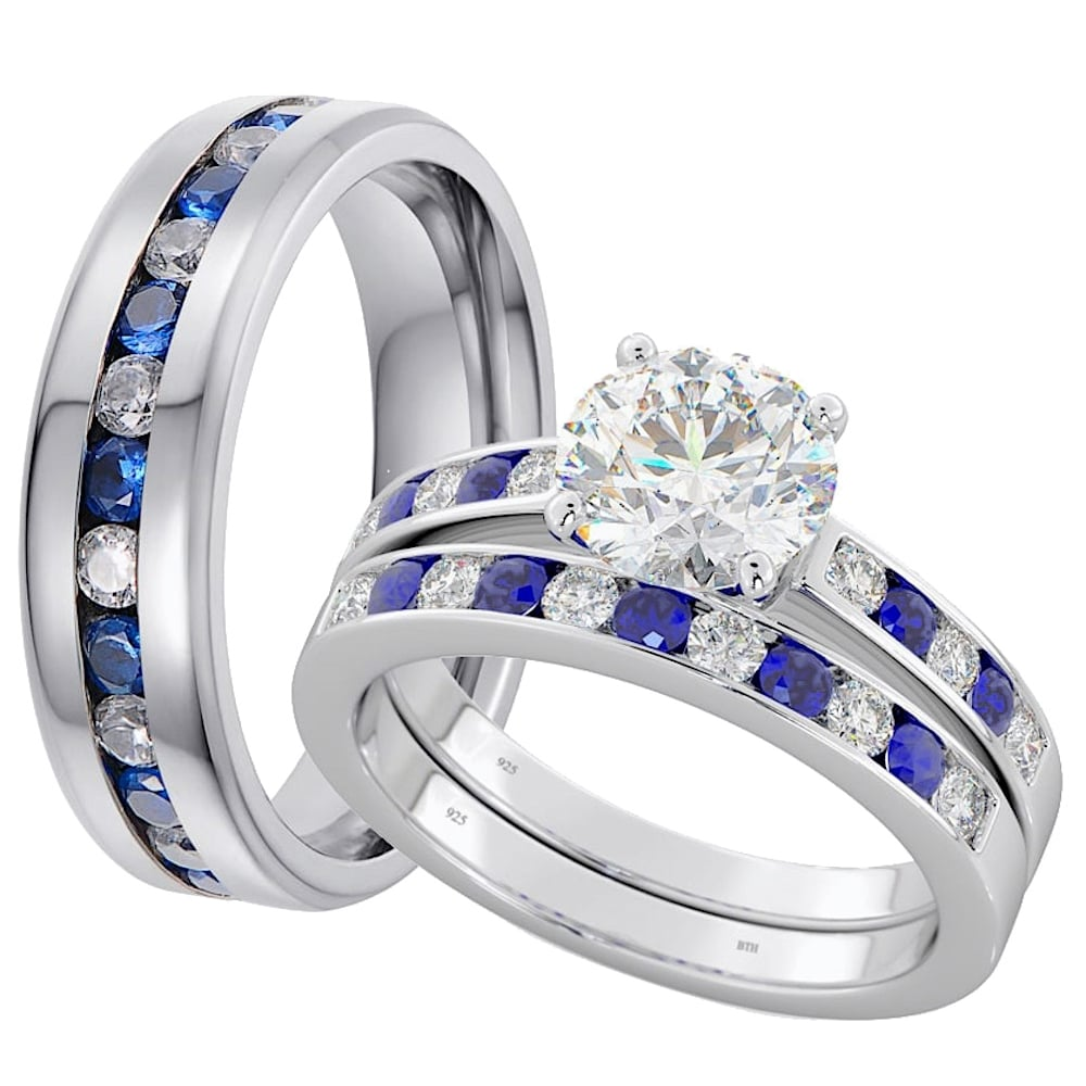ring engagement sapphire princess p bridal band gold three white diamond set wedding french blue stone