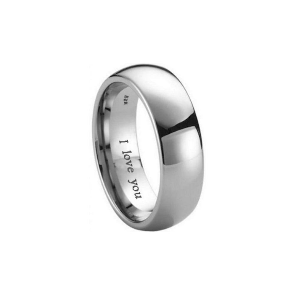matching his hers i love you engraved titanium wedding band set