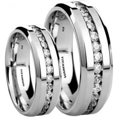 His and Hers Matching Titanium Wedding Engagement Couple Rings Set