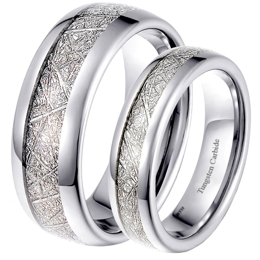 His and Hers Matching Tungsten Meteorite Wedding Couple ...