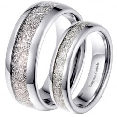 His and Hers Matching Tungsten 8mm/6mm Meteorite Wedding Engagement Couple Rings Set