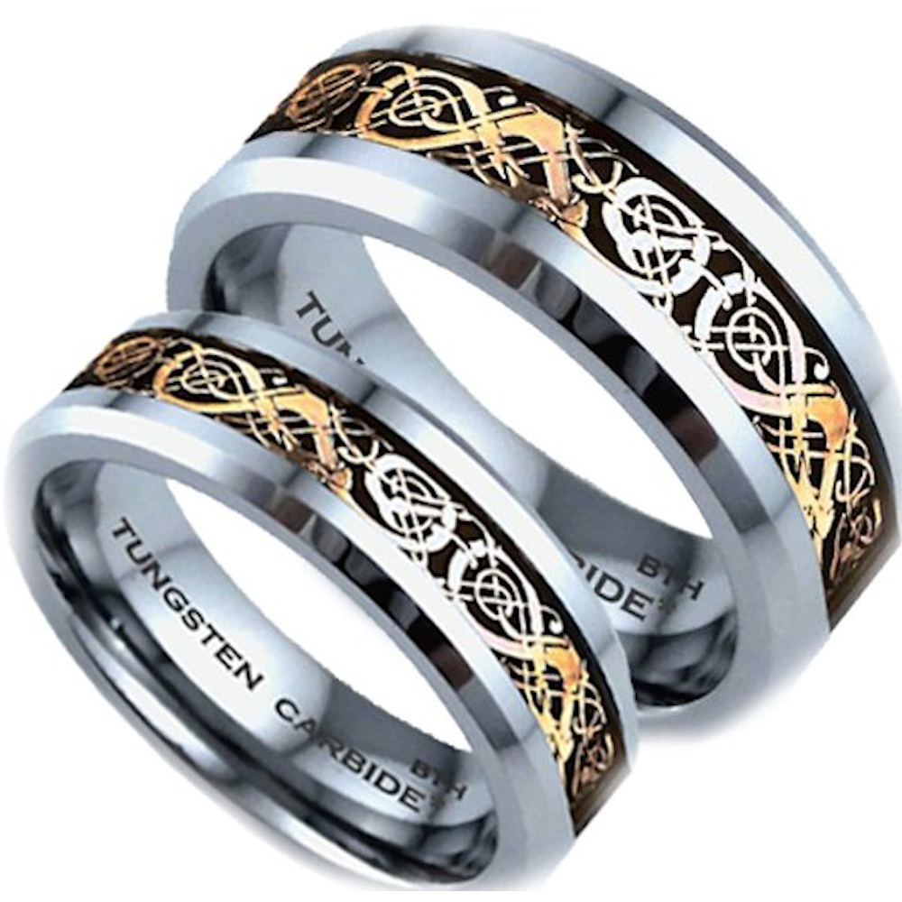 His and Hers Matching Tungsten Celtic Dragon Wedding Couple Rings Set