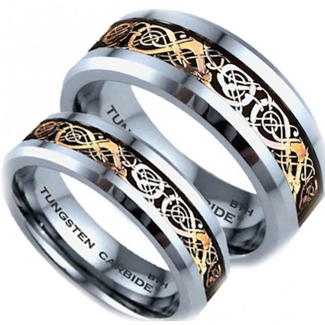 His and Hers Matching Tungsten Carbide Celtic Dragon Wedding Couple Ring Sets