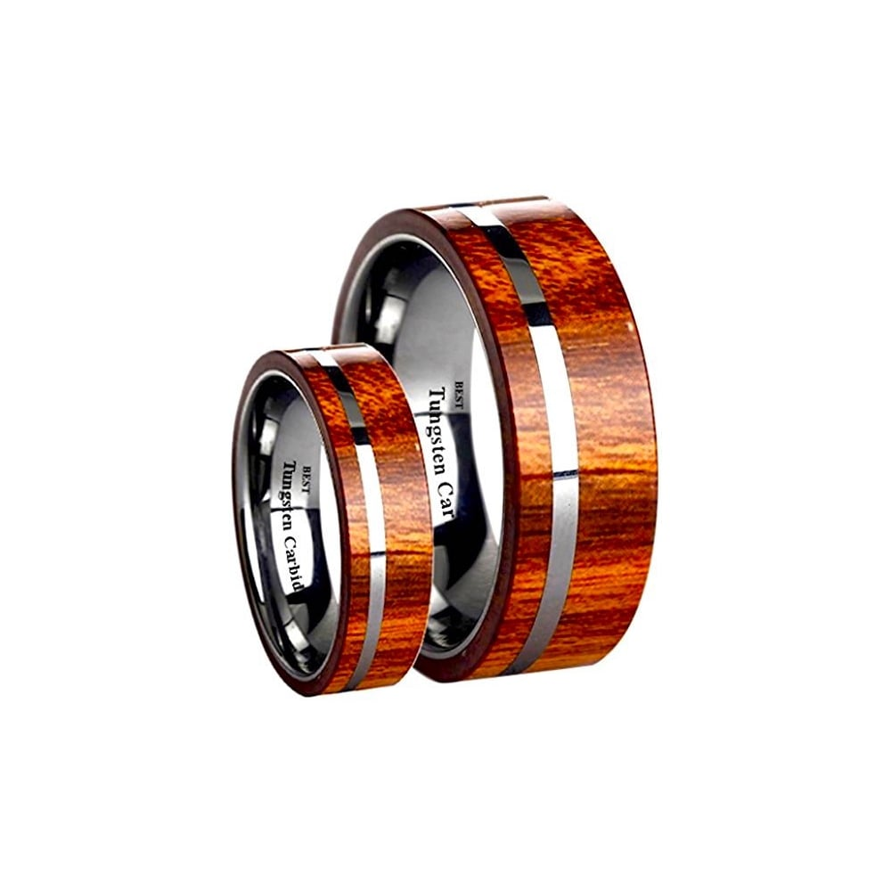 His And Hers Matching Tungsten Carbide Koa Wood Inlay Wedding Engagement Rings Set