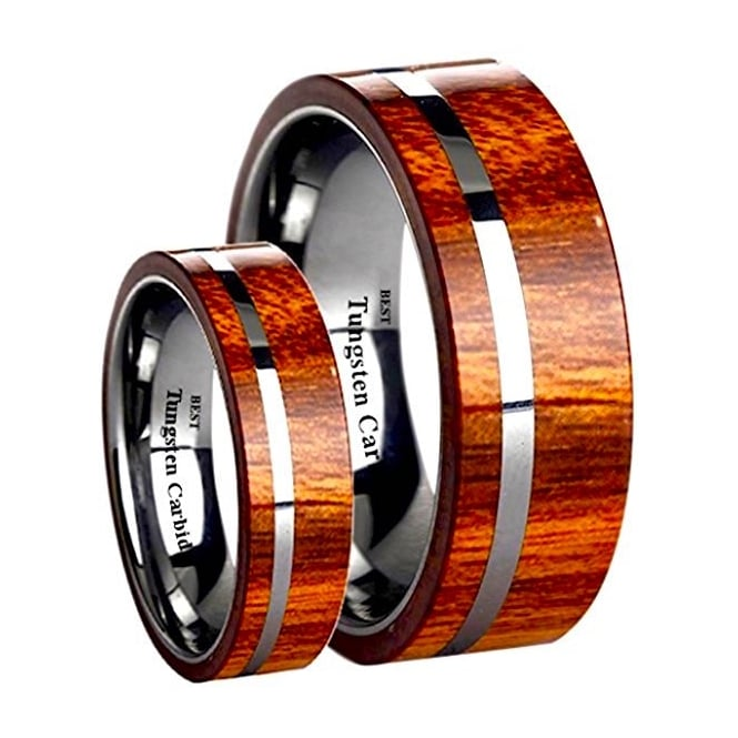 His and Hers Matching Tungsten Carbide KOA Wood Inlay Wedding Engagement Couple Rings Set