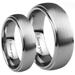 His and Hers Matching Tungsten Carbide Wedding Couple Ring Sets