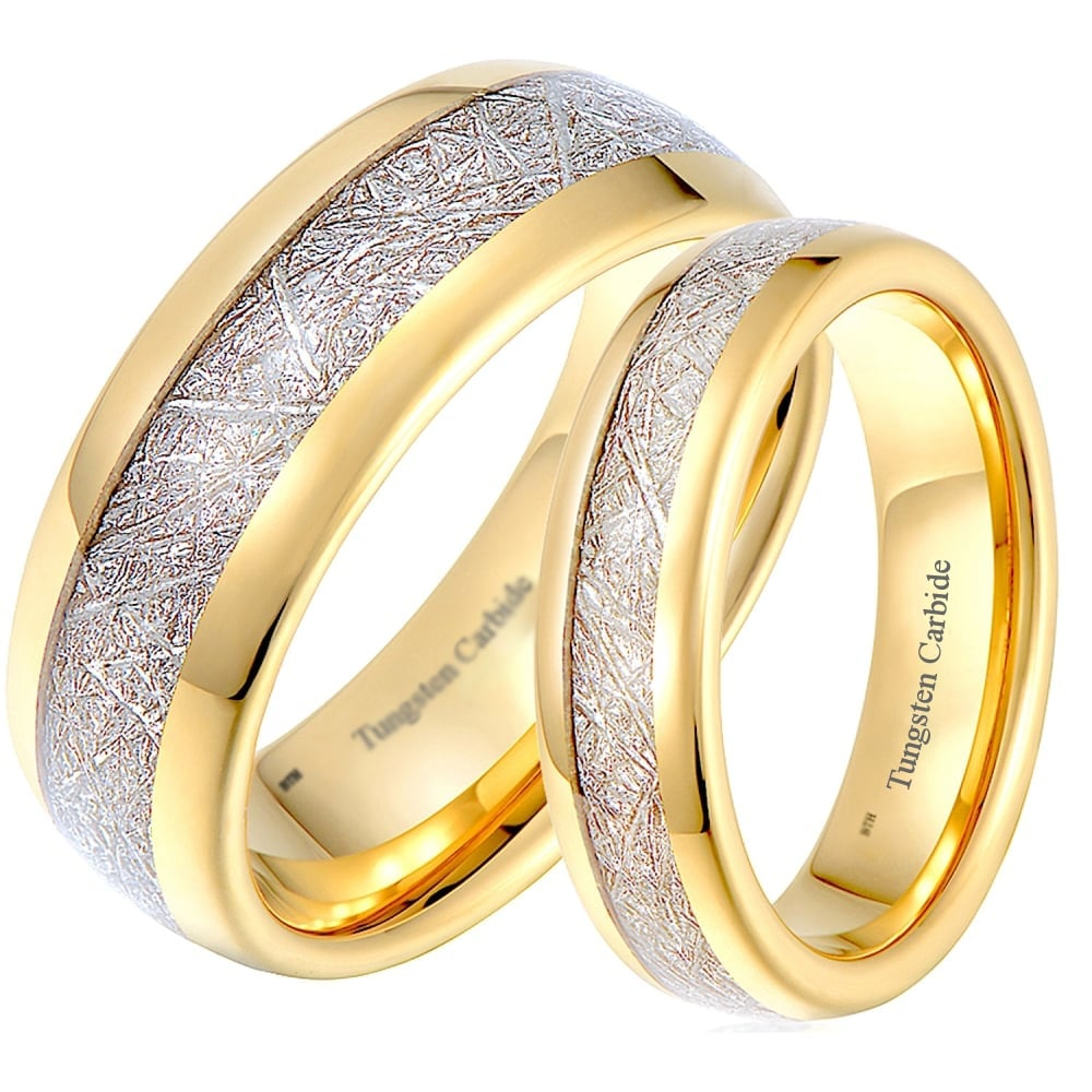 his and hers matching tungsten ringsmeteorite inlay gold tone wedding engagement couple rings set - Wedding Engagement Ring Sets