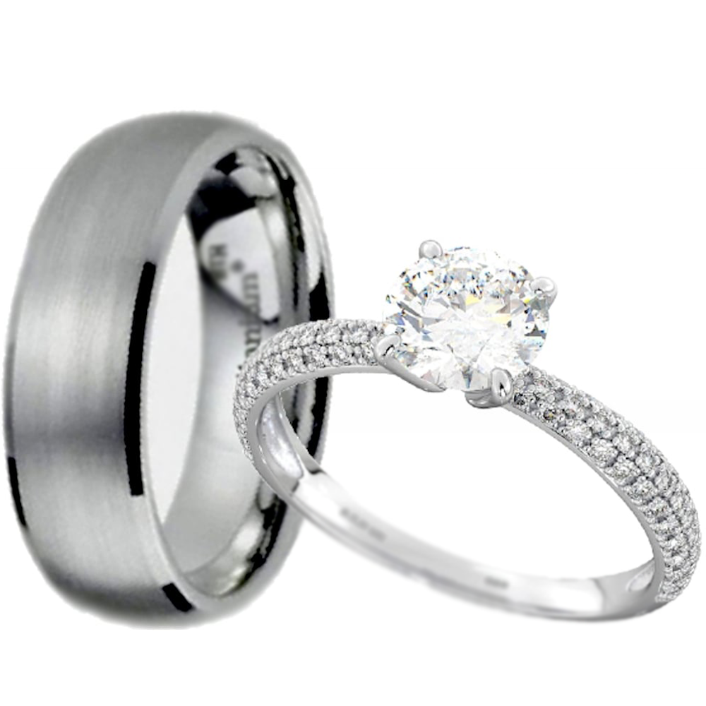 His And Hers Set   Titanium/Sterling Silver Wedding Engagement Couple Rings  Set