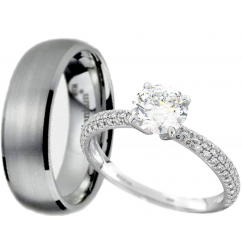 His and Hers Set - Titanium/Sterling Silver Wedding Engagement Couple Rings Set