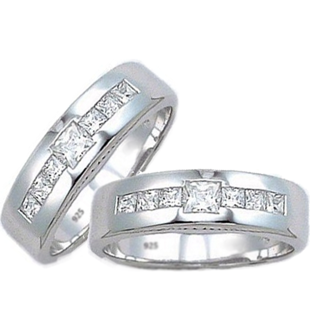 His And Hers Silver Matching Set  925 Sterling Silver Wedding Engagement  Couple Rings Set