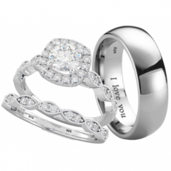 His and Hers Titanium/925 Sterling Silver Wedding Engagement Ring 3pcs Couple Rings Set