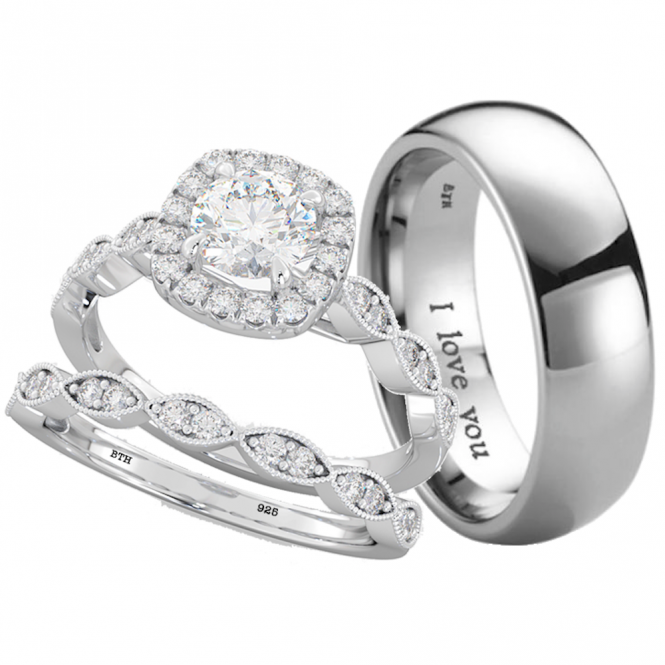 His And Hers Titanium 925 Sterling Silver Wedding Engagement Ring Band Set
