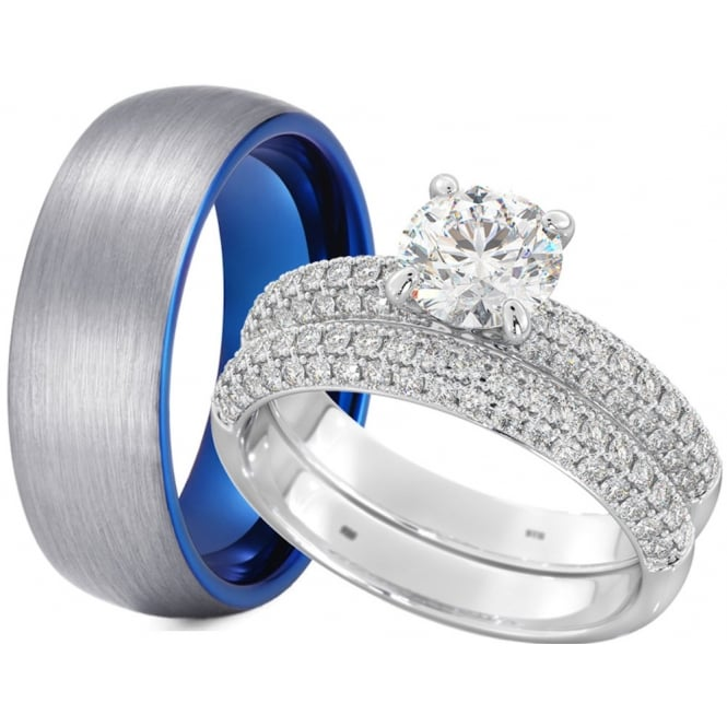 His And Hers Tungsten 925 Silver Wedding Engagement Rings Set