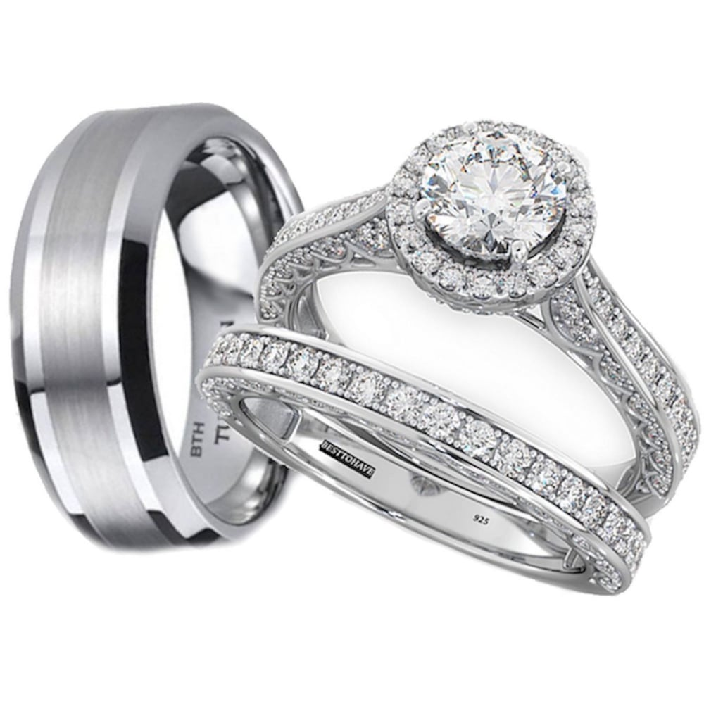 His And Hers Tungsten Carbide 925 Sterling Silver Wedding Engagement Ring 3pcs Rings Set