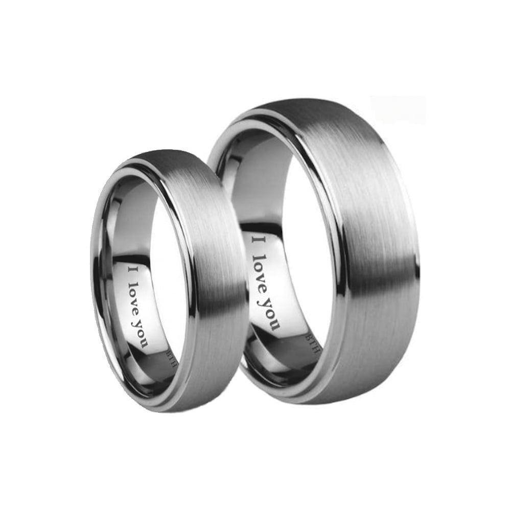 His Hers Brushed Tungsten Carbide Couples Matching Wedding Ring Set