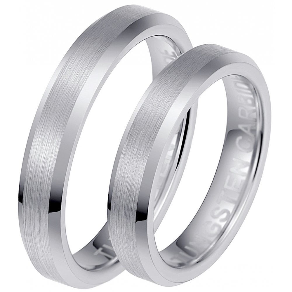 His And Her Wedding Bands.His Hers Matching Brushed Tungsten Couples Wedding Ring Set
