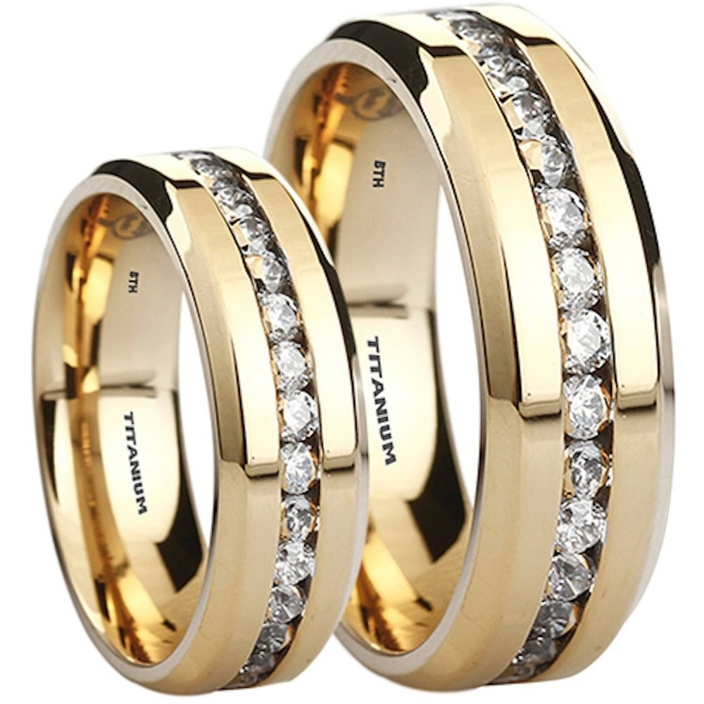 His And Hers Matching Wedding Bands Cheap.His Hers Titanium Cubic Zirconia Matching Gold Tone Wedding Couple Ring Set