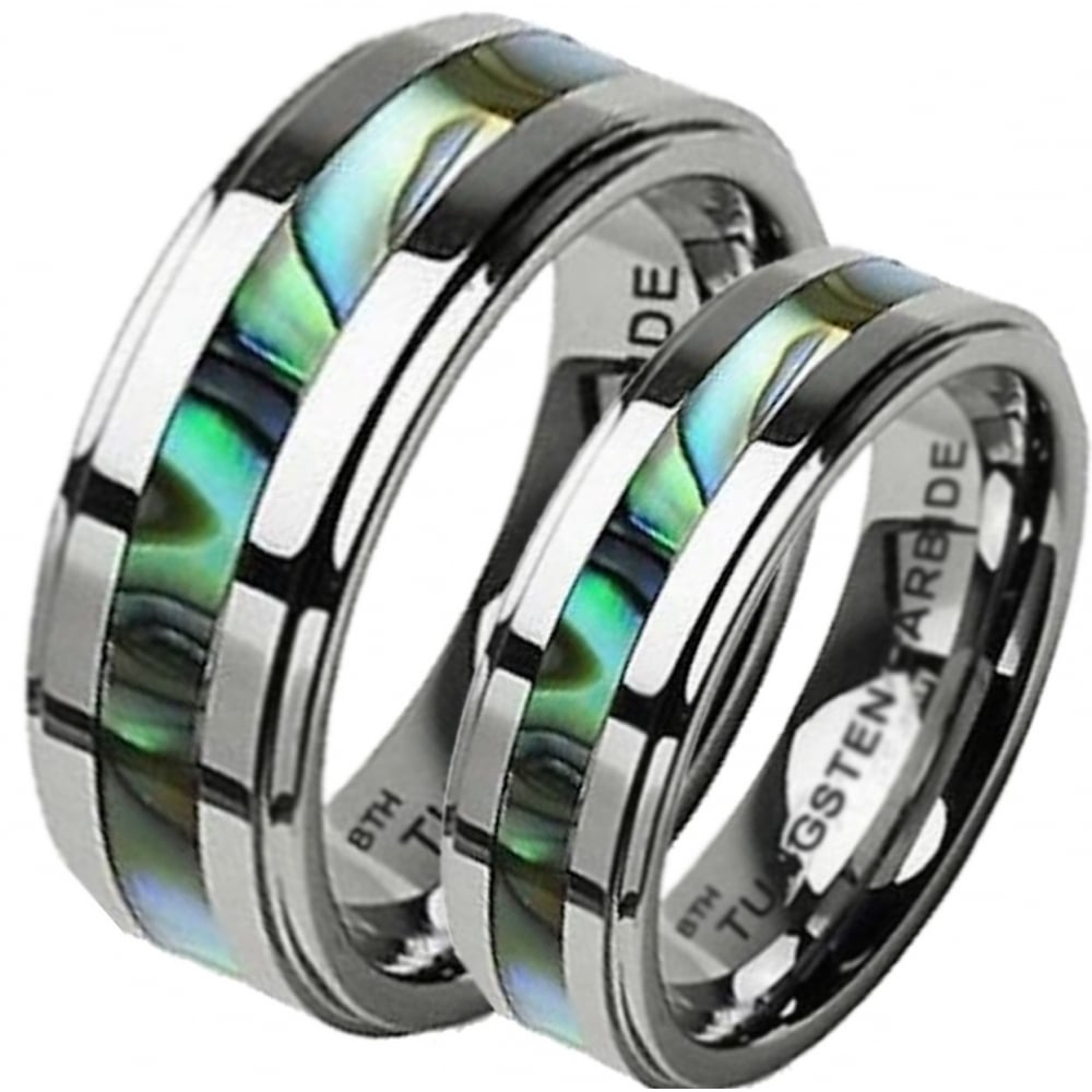 His And Hers Tungsten Carbide Abalone Shell Couples Matching Wedding Ring Set: Carbide Abalone Wedding Rings At Websimilar.org