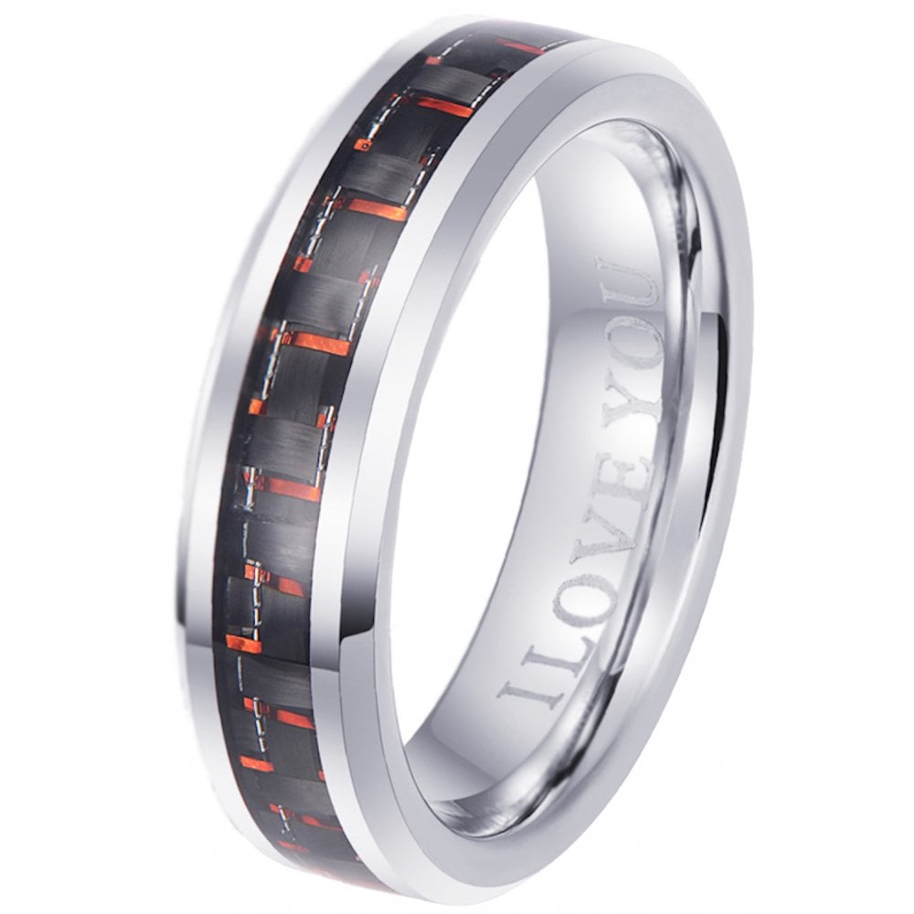 I Love You Red Carbon Inlay 6mm Tungsten Engagement Wedding Band Ring