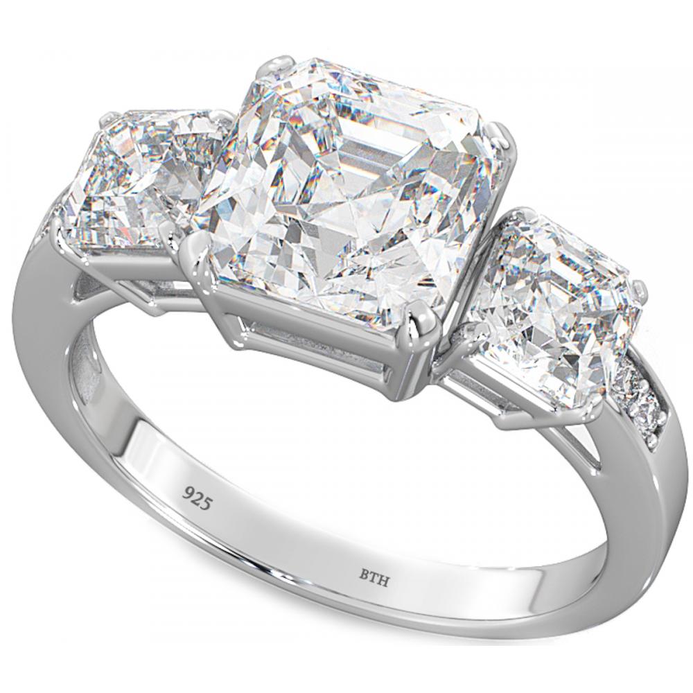 3 asscher cz 925 silver wedding engagement