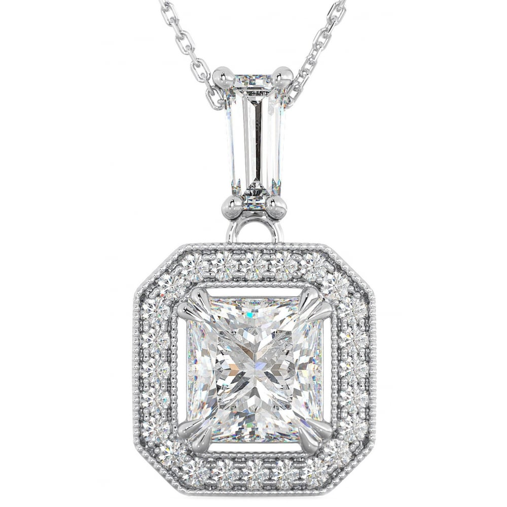Ladies 925 sterling silver halo asscher cut pendant necklace ladies 925 sterling silver asscher cut halo cubic zirconia pendant necklace aloadofball Image collections