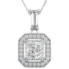 Ladies 925 Sterling Silver Asscher Cut Halo Cubic Zirconia Pendant Necklace