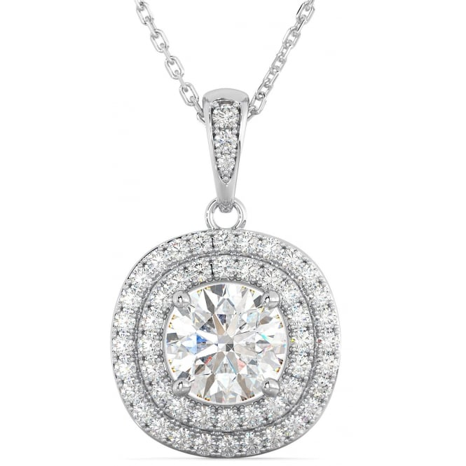 Ladies 925 Sterling Silver Double Halo Cubic Zirconia Pendant Necklace