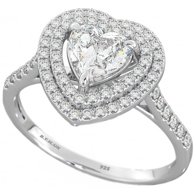 Ladies 925 Sterling Silver Double Halo Heart Wedding Engagement Band Ring