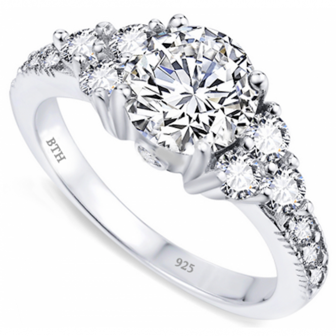 Ladies 925 Sterling Silver Engagement Band Ring