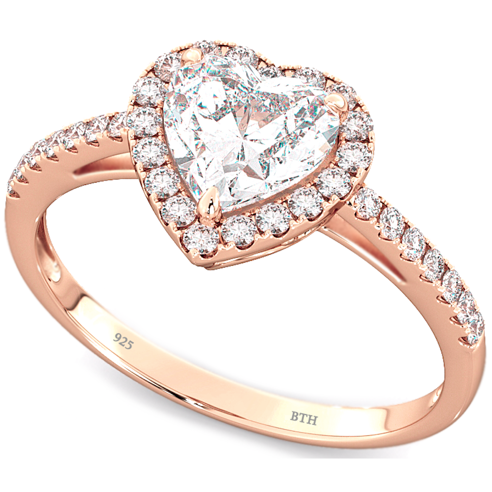 Rose Gold Plated Sterling Silver Heart Wedding Engagement Band Ring