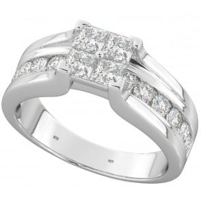 Ladies 925 Sterling Silver Invisible Princess Cut Cubic Zirconia Ring