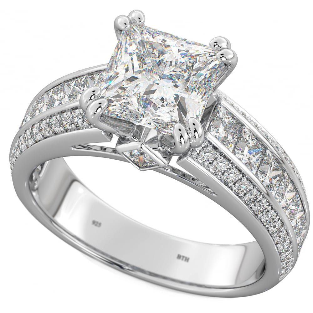 New Ladies 925 Sterling Silver Princess Cut Cubic Zirconia Ring sizes J R