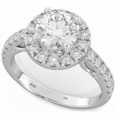 Ladies 925 Sterling Silver Round Cut Cubic Zirconia Engagement Ring