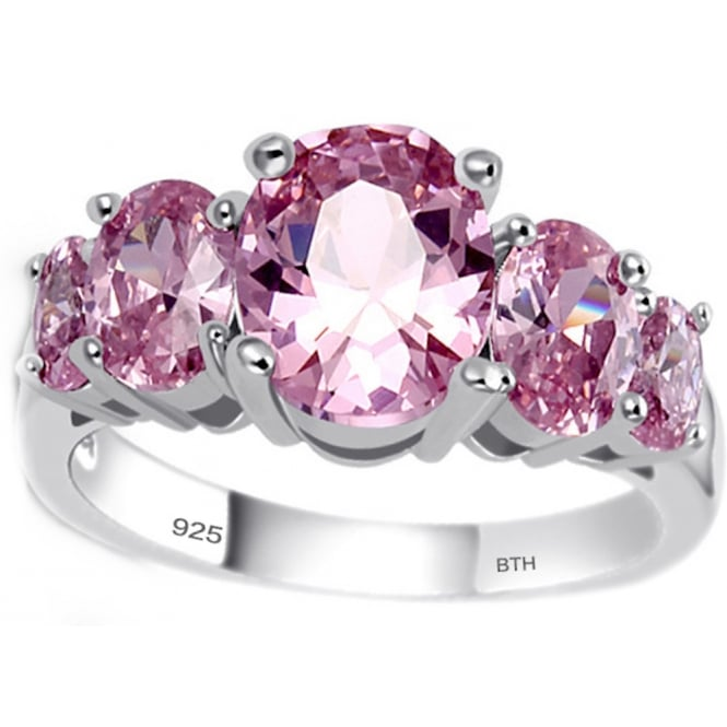Ladies 925 Sterling Silver Round Cut Pink Ring