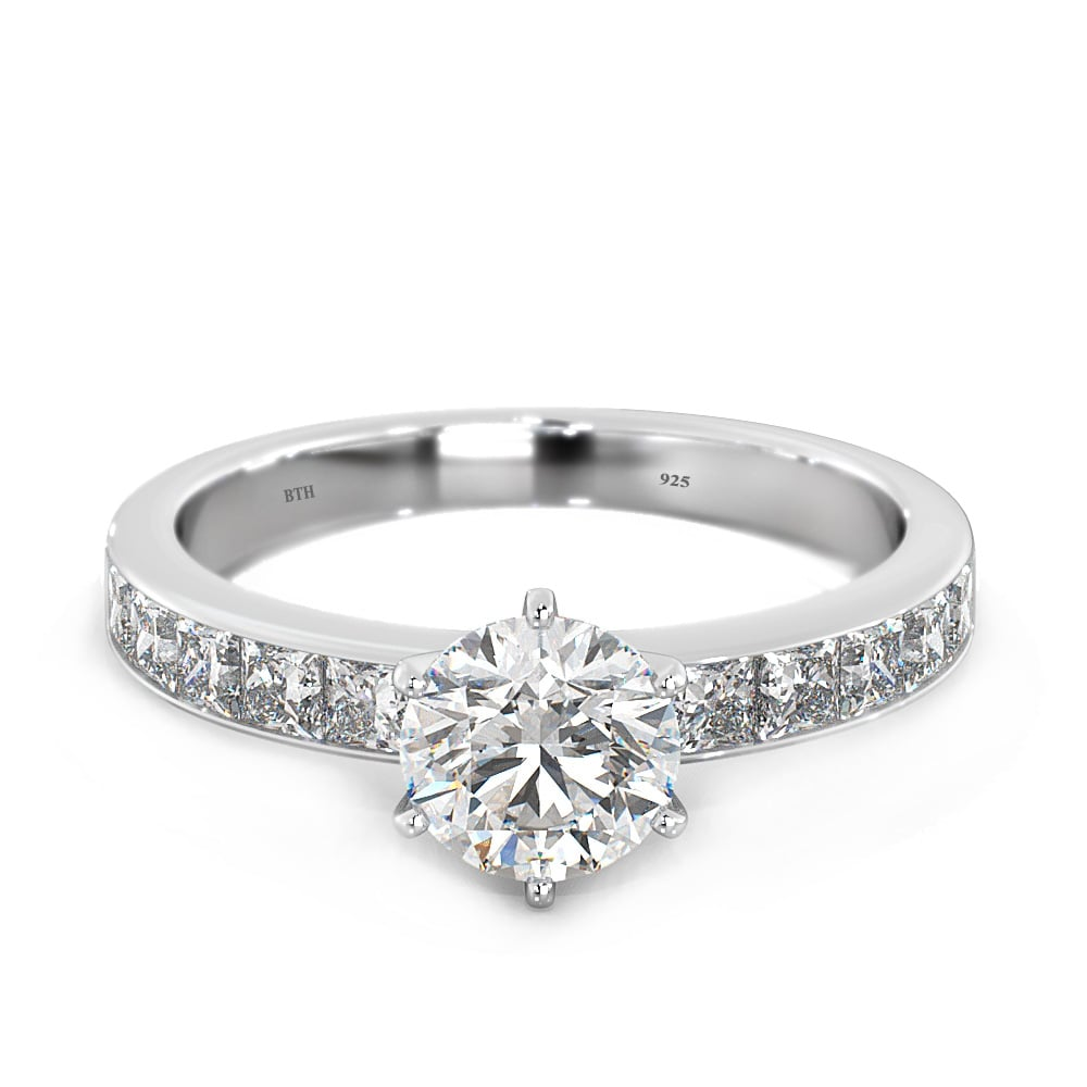 Ladies 925 Sterling Silver Simulated Diamonds Cz Solitaire Engagement Ring  With Dazzling Shoulder Stones
