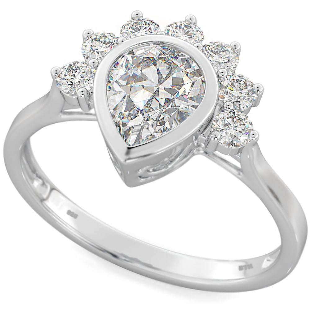 womans in teardrop with cz jewellery setting ladies engagement rings sterling crown silver diamond image ring prong