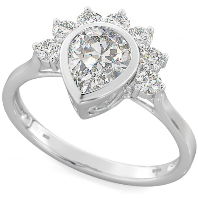 Ladies 925 sterling silver Teardrop engagement ring with crown in prong setting