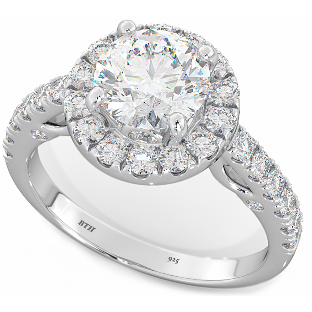 Las 925 Sterling Silver Unique Round Cut Simulated Diamonds Wedding Band Engagement Ring