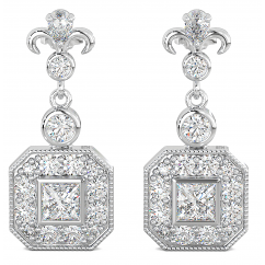 Ladies / Bridal Art Deco Cubic Zirconia Dangle Sterling Silver Earrings