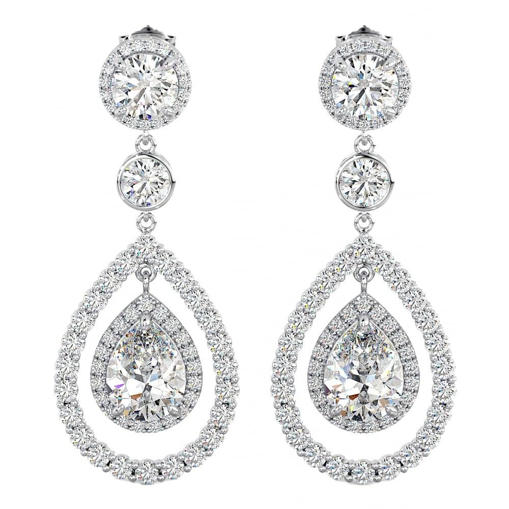 32256150f044cf Sterling Silver Cubic Zirconia Wedding Chandelier Bridal Drop Earrings