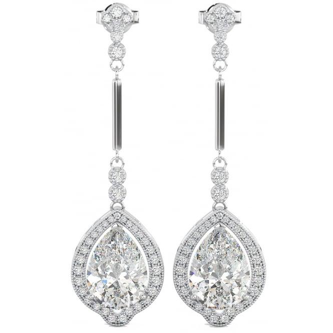8f564e46e 925 Sterling Silver Art-Deco Ladies Tear Drop/Dangle Bridal Earrings ...
