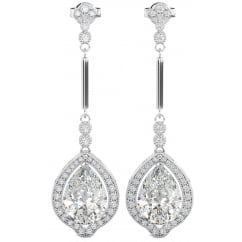 Ladies Cubic Zirconia Tear Drop/Pear Cut Earrings in 925 silver