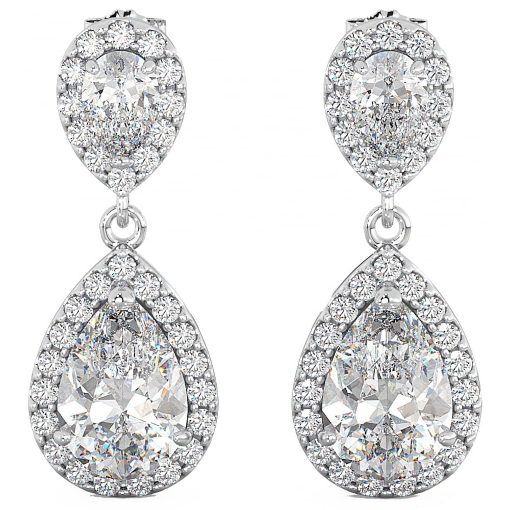 Las Cubic Zirconia Teardrop Dangle Sterling Silver Bridal Earrings