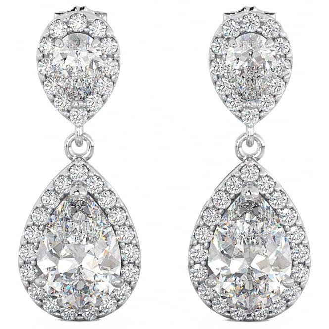 Las Cubic Zirconia Teardrop Dangle Sterling Silver Bridal Earrings