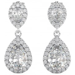 Ladies Cubic Zirconia Teardrop / Dangle Sterling Silver Bridal Earrings