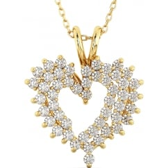 Ladies Gold Tone Dazzling Heart Pendant Necklace in 925 Sterling Silver