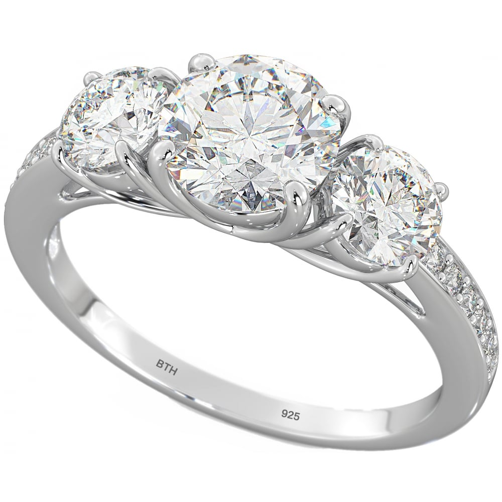 Temptations of Eden Stunning Sterling Silver 3 stone Engagement Ring
